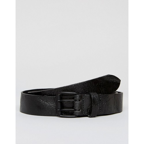 ASOS Leather Slim Belt In Black With Vintage Look