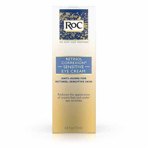 RoC Retinol Correxion Anti-Aging Eye Cream for Sensitive Skin, Anti-Wrinkle Treatment with milder retinol formula that helps condition skin to retinoids .5 fl. oz [Sensitive Eye Cream]