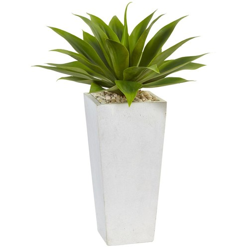 Nearly Natural Indoor Agave Artificial Plant in White Planter