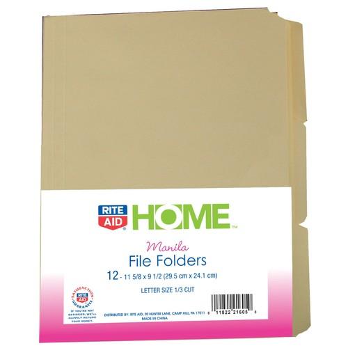 Rite Aid Manilla File Folder 12Ct