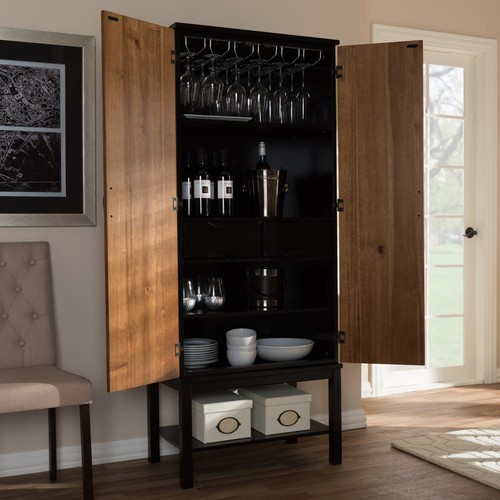 Baxton Studio Marya 20-Bottle Brown Wine Cabinet