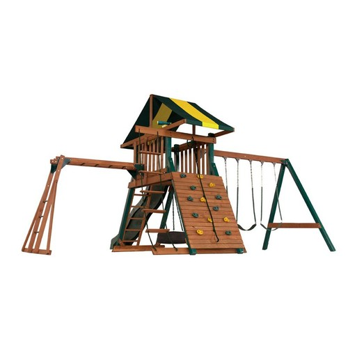 Wood Castle Rock Swing Set