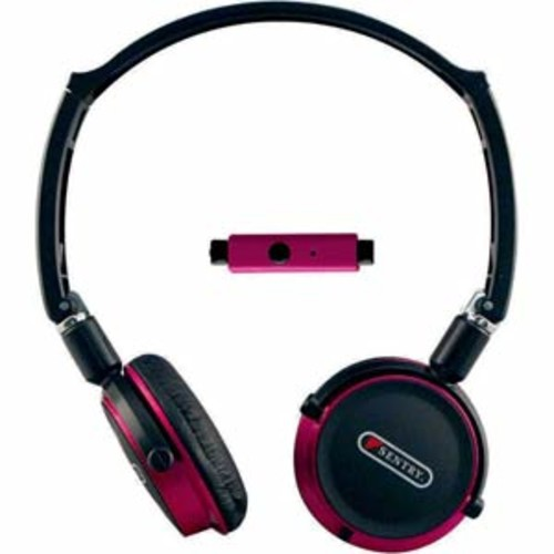 Sentry Flat Folding Stereo Headphones with Mic - Red