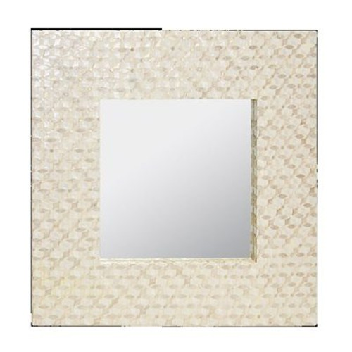 WorldsAway Square Capiz Shell Accent Mirror