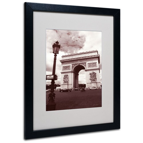 Trademark Fine Art Kathy Yates 'Arc de Triomphe' Matted Art Black Frame 16x20 Inches