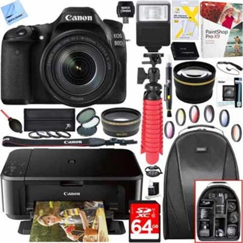 Canon EOS 80D Digital SLR Camera w/ EF-S 18-55mm Lens + Canon PIXMA Printer Kit