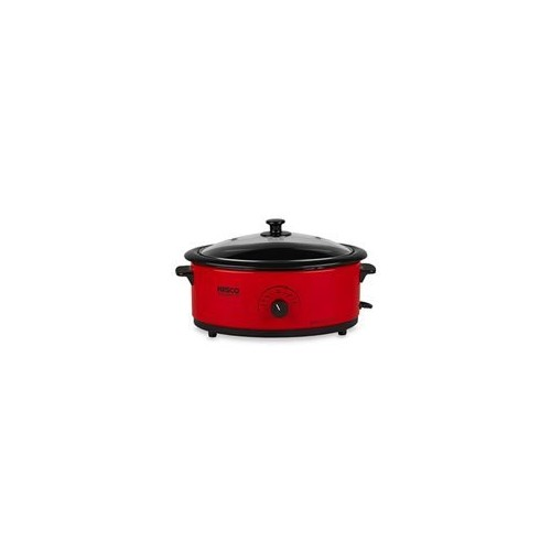 Nesco 4816-12 Roaster Oven with Black Lid, 6-Quart, Red