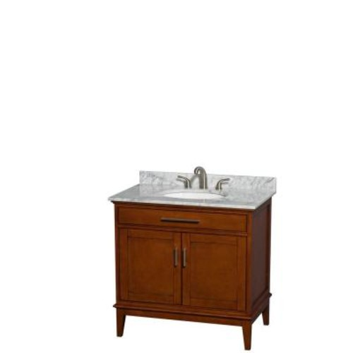 Wyndham Collection Hatton 36 in. Vanity in Light Chestnut with Marble Vanity Top in Carrara White and Oval Sink