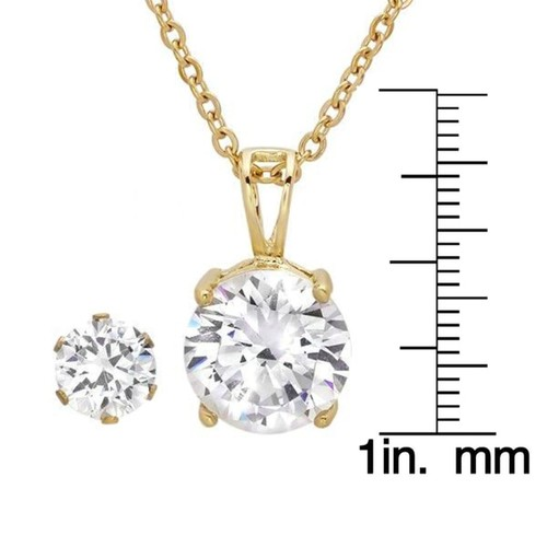 Yellow Goldplated Simulated Diamond Earring And Pendant Set