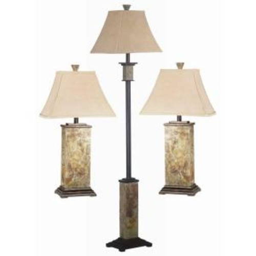 Kenroy Home Bennington 29 in. Natural Slate 2 Table and 1 Floor Lamp Set