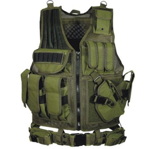 Leapers UTG 547 Law Enforcement Tactical Vest, Right Handed, OD Green PVC-V547GT