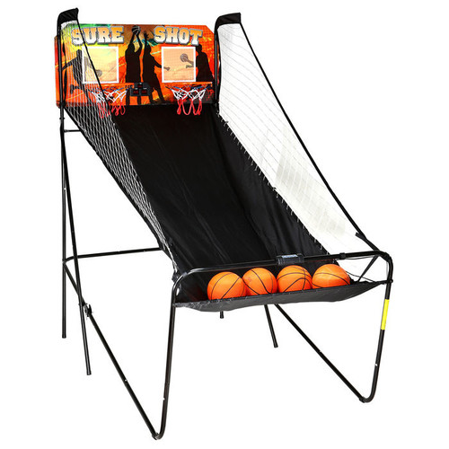 Sure Shot MDF Dual Electronic Basketball Game with Rip-Stop Polyester Ramp and LED Electronic Scoring System