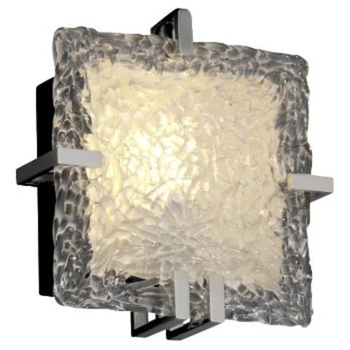 Veneto Glass Clips Square Wall Sconce [Shade Color : Venetian; Finish : Polished Chrome]
