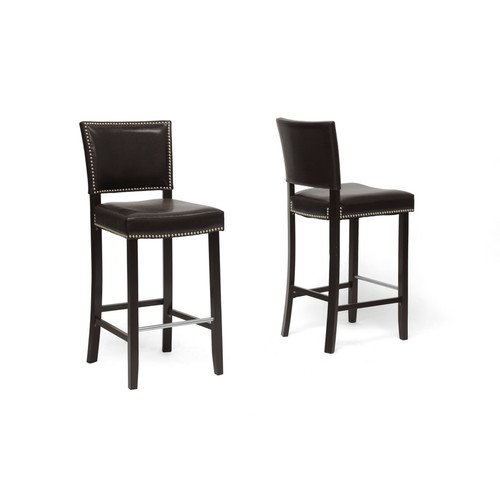 Baxton Studio Aries Dark Brown Modern Bar Stool with Nail Head Trim-set of 2