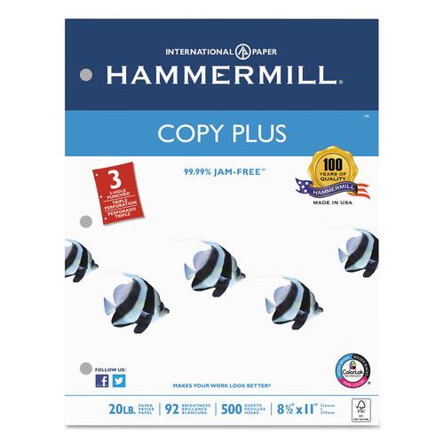 Hammermill HAM105031 Copy Plus Copy Paper, 3-Hole Punch, 92 Brightness, 20lb, Ltr, White, 500 Shts/Rm