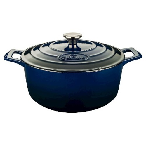 La Cuisine Pro 6.5 Qt. Cast Iron Round Casserole with Blue Enamel