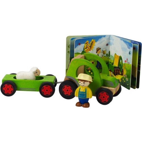 Hape My Tractor Kid's Wooden Playset with Activity Book