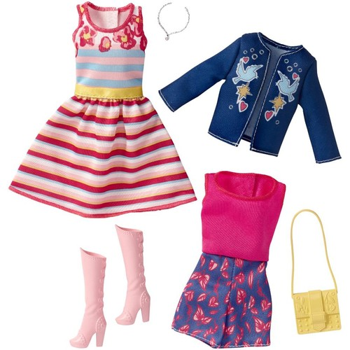 Barbie Fashionistas Doll and Fashions - Blue Jacket and Pink Striped Dress with Accessory