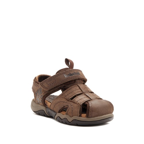 Oak Bluffs Leather Fisherman Dark Brown Sandal (Toddler & Little Kid)