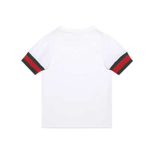 GUCCI Web-Trim Cotton Jersey Tee, White, Size 4-12