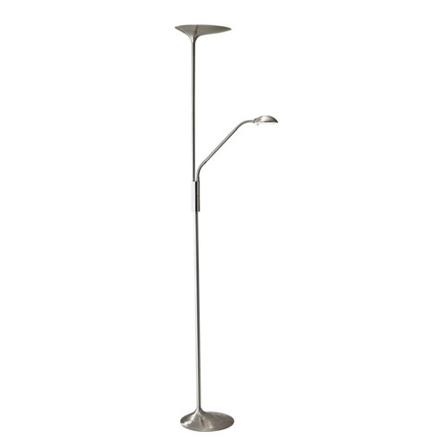 Adesso Kepler LED Torchiere Floor Lamp, With Reading Light, 70 1/2