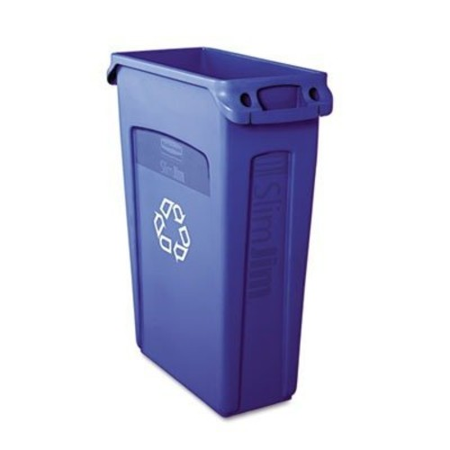 Rubbermaid Commercial Slim Jim Receptacle with Venting Channels, Rectangular, Plastic, 23 Gallons, Black (FG354060BLA)