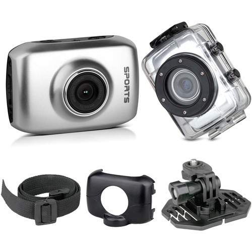 ActionCam Touchscreen Action Camera with Waterproof Case, Silver