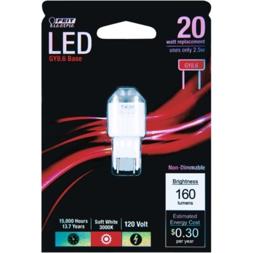 FEIT Electric LED Bulb 2.5 watts 160 lumens Specialty 1.75 in. Soft White 1 pk(GY8.6/LED)