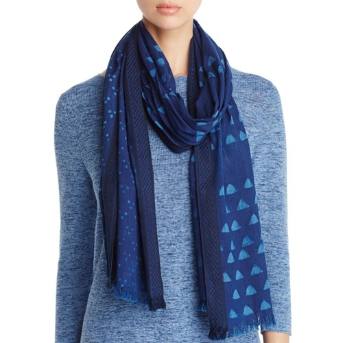 EILEEN FISHER Geometric Print Cotton Scarf