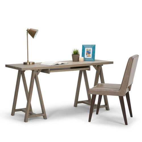 Simpli Home Sawhorse Distressed Grey Desk