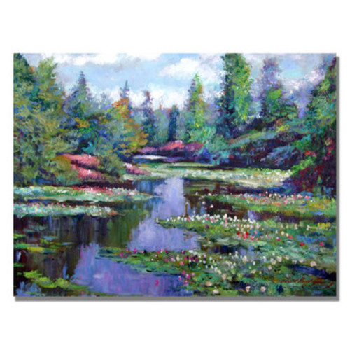 'Summer Waterlillies' by David Lloyd Glover Framed Painting Print on Wrapped Canvas