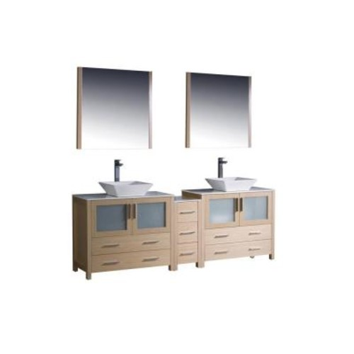 Fresca Torino 84 in. Double Vanity in Light Oak with Glass Stone Vanity Top in White with White Basins and Mirrors