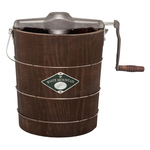 White Mountain PBWMIMH412 Appalachian Series Wooden Bucket 4-Quart Hand Cranked Ice Cream Maker