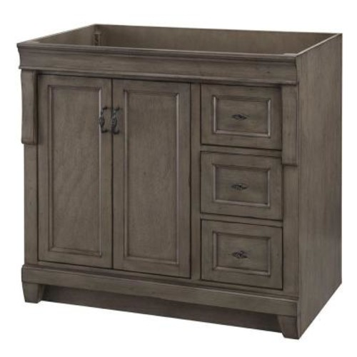 Home Decorators Collection Naples 36 in. W Bath Vanity Cabinet Only in Distressed Grey with Right Hand Drawers