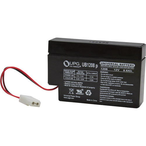 UPG Sealed Lead-Acid Battery  AGM-type, 12V, 0.8 Amps, Model# UB 1208P
