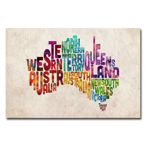 Australia States Text Map by Michael Tompsett, 16x24-Inch Canvas Wall Art [16 by 24-Inch]