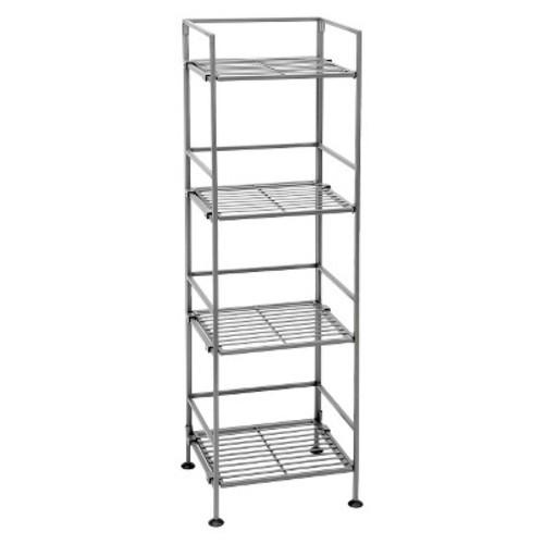 Seville Classics 4-Tier Square Wrought Iron Folding Shelf - Silver