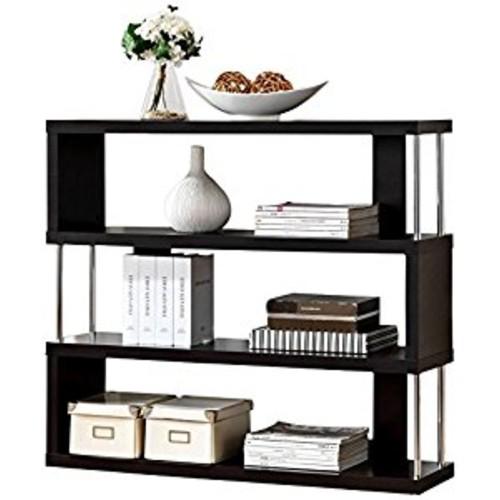 Baxton Studio Barnes 3-Shelf Modern Bookcase, Dark Brown [3 Shelf]