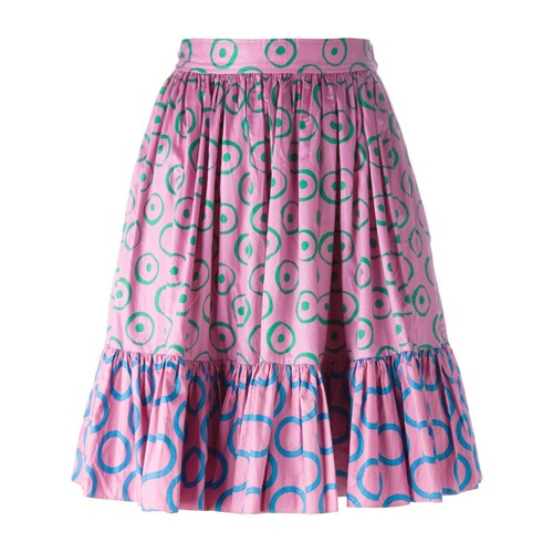 YVES SAINT LAURENT VINTAGE Circle Print Pleated Skirt