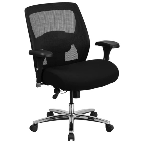 Big and Tall Ventilated Mesh Back Swivel Office Chair with Thick Padded Black Upholstered Seat