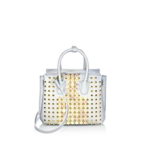 MCM Milla Mini Pearl Studded Metallic Leather Tote