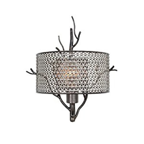 Varaluz Treefold 1 Light Wall Lighting , Steel With Recycled Steel Mesh