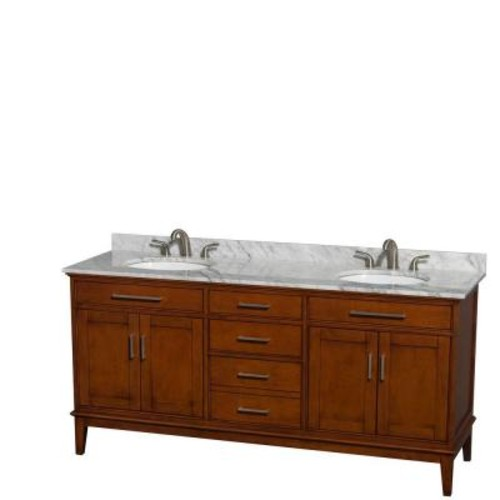 Wyndham Collection Hatton 72 in. Double Vanity in Light Chestnut with Marble Vanity Top in Carrara White and Oval Sinks