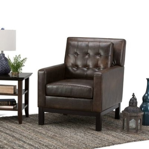 Simpli Home Carrigan Club Chair in Distressed Brown (AXCCHR-013-DBR)