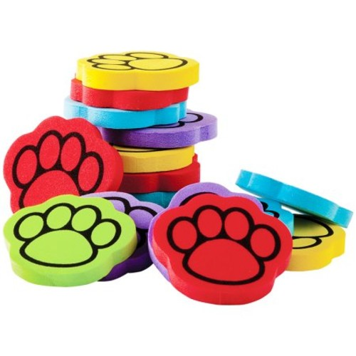 FOAM 100 IN 5 COLOR PAW PRINT COUNTERS