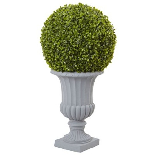 2.5' Boxwood Topiary with Urn (Indoor/Outdoor) - Nearly Natural