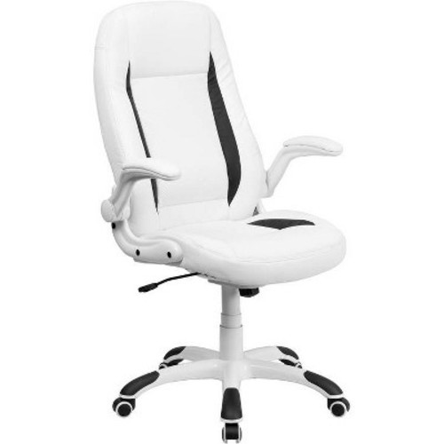 Executive Swivel Office Chair White Leather - Flash Furniture
