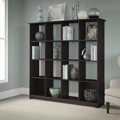 Bush Furniture Cabot 16 Cube Bookcase, Espresso Oak, Standard Delivery