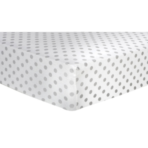 Trend Lab White and Grey Circles Fitted Crib Sheet