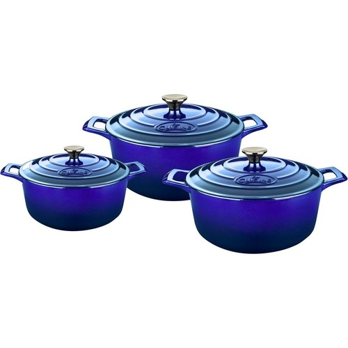 La Cuisine 6-Piece Cast Iron Round Casserole Set with Enamel Finish in High Gloss Sapphire